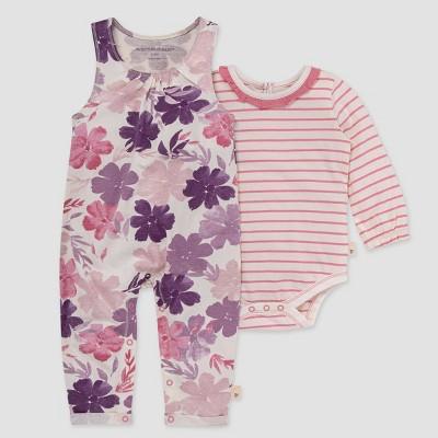 Burt's Bees Baby® Baby Girls' Museum Garden Jumpsuit & Bodysuit Set - Rose Pink 0-3M