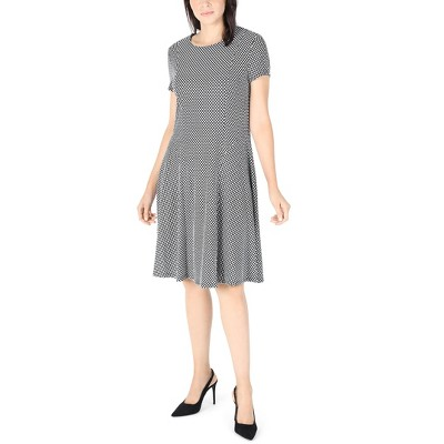 Robbie Bee   Short Sleeve Knit Poka Dot Fit And Flare Black And White Dress