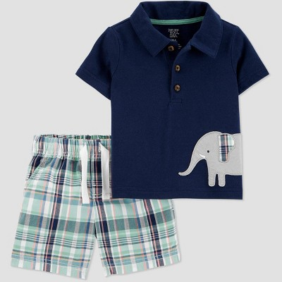 Baby Boys' Plaid Top and Bottom Set - Just One You® made by carter's Navy Newborn