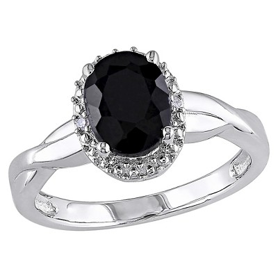 1 3/5 CT. T.W. Oval Black Sapphire and 0.01 CT. T.W. Diamond Ring Silver (I3)