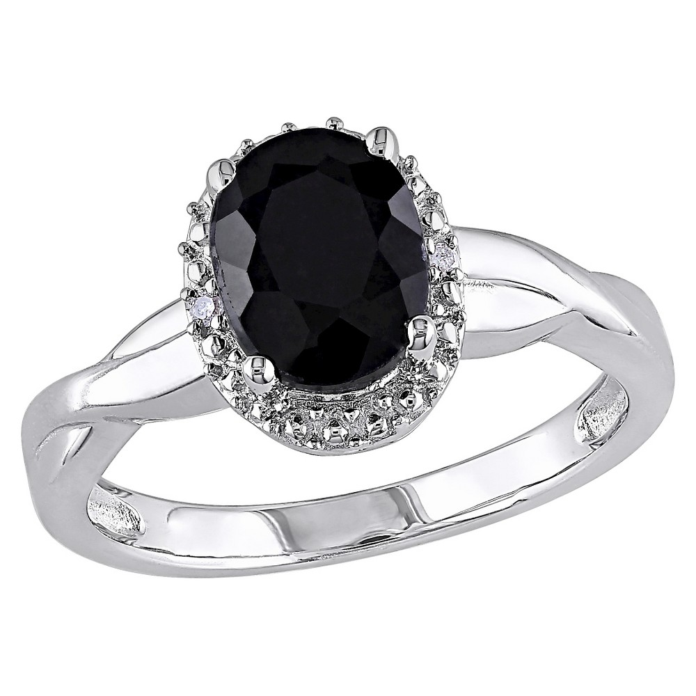 1 3/5 CT. T.W. Oval Black Sapphire and 0.01 CT. T.W. Diamond Ring Silver - I3 - 6 - Black