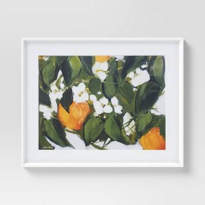 """30"""" x 24"""" Floral Framed Wall Art White/Orange - Opalhouse™"""