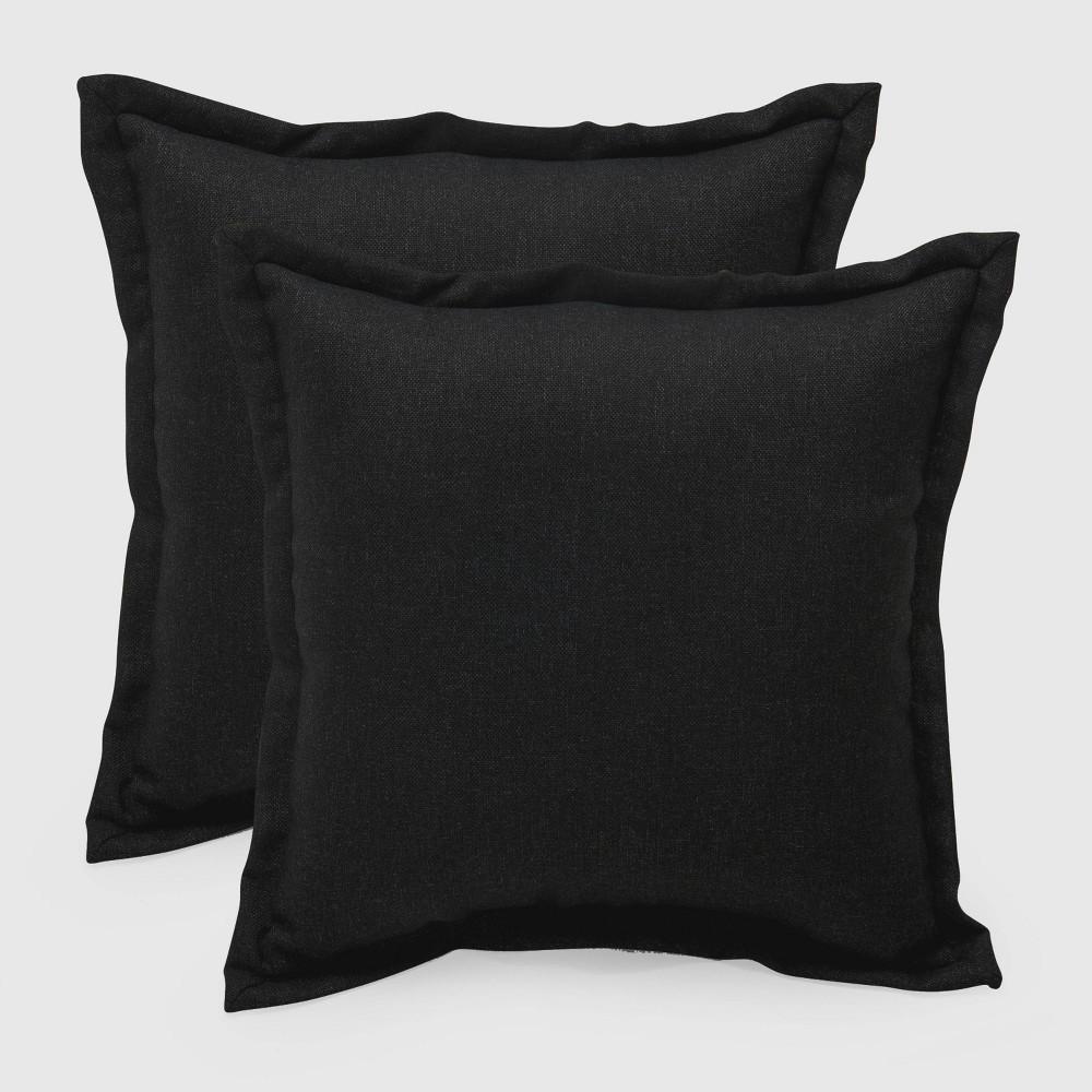 2pk Square Outdoor Pillows Black - Threshold
