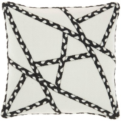 """18""""x18"""" Woven Braided Geometric Outdoors Square Throw Pillow - Mina Victory"""