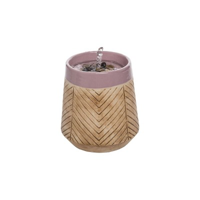 Tan Herringbone Pattern Purple Rim Indoor Water Fountain With Pump - Foreside Home & Garden