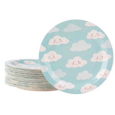"""Juvale 80-Pack Blue Cloud Disposable Paper Plates 9"""" Kids Birthday Party Supplies"""