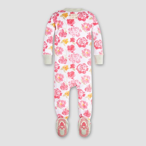 3d23179c5 Burt s Bees Baby Girls  Organic Cotton Rosy Spring Footed Sleeper ...