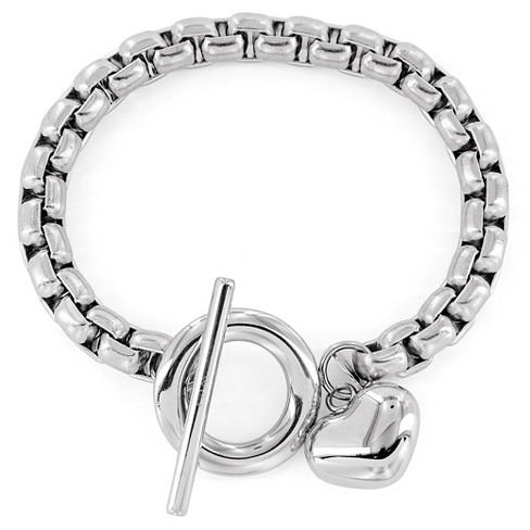 West Coast Jewelry Stainless Steel Heart Charm Boxed Chain Bracelet - image 1 of 3