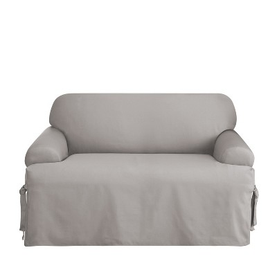Cotton Duck T-Love Slipcover Light Gray - Sure Fit