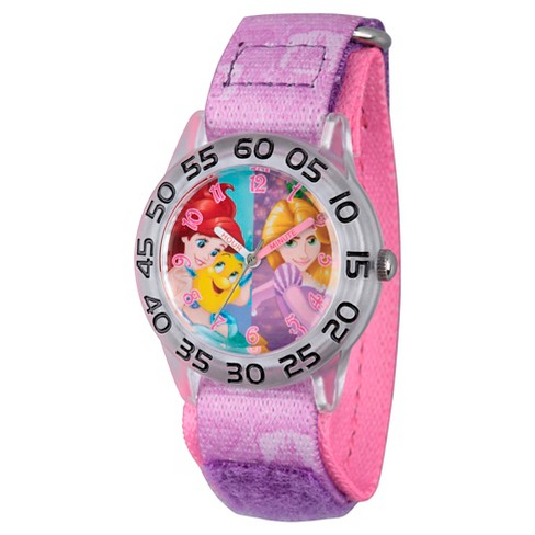 Girls' Disney Princess Rapunzel and Ariel Clear Plastic Time Teacher Watch - Purple - image 1 of 2
