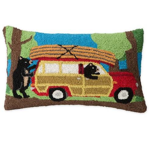 Hand-Hooked Wool Canoeing Bears Decorative Throw Pillow - Plow & Hearth - image 1 of 1