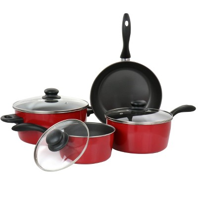 Gibson Home Armada 7 Piece Nonstick Carbon Steel Cookware Set in Red