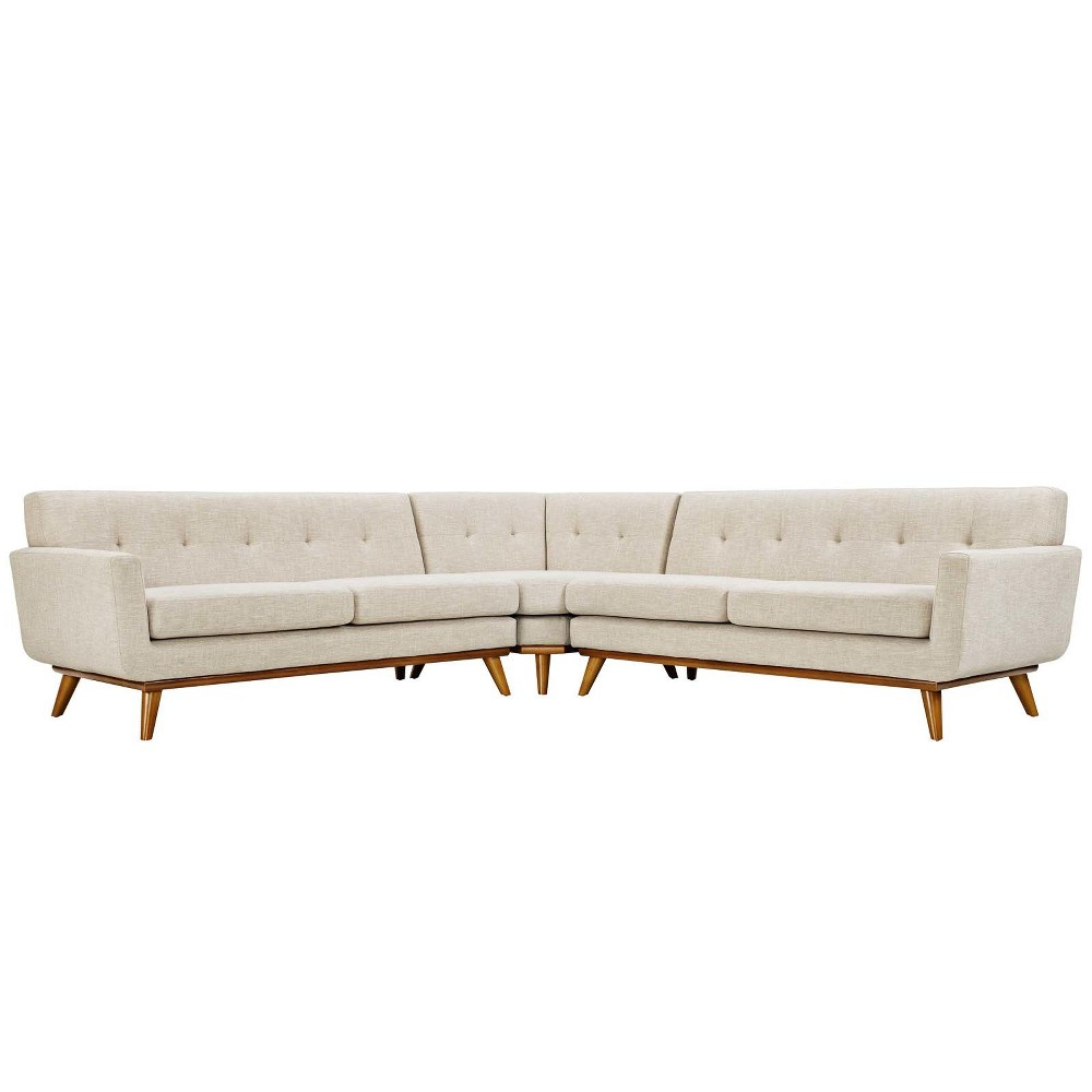 Engage L Shaped Sectional Sofa Beige - Modway