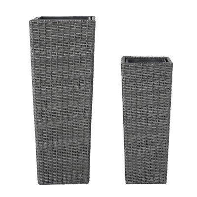 """Everest 31"""" and 23"""" Cone Column Wicker 2pk Planters - Gray - Christopher Knight Home"""