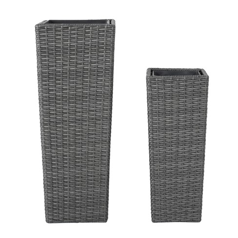 "Everest 31"" And 23"" Cone Column Wicker 2pk Planters - Christopher Knight Home® - image 1 of 4"