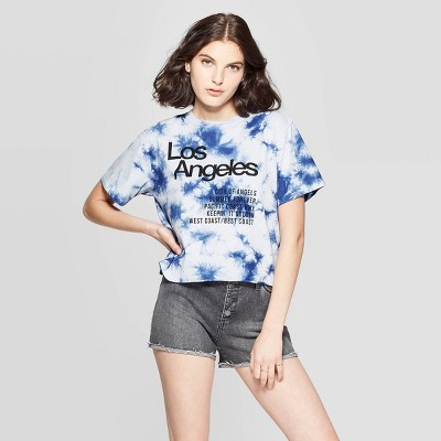 Women's Short Sleeve Los Angeles Cropped Graphic T Shirt   Mighty Fine (Juniors')   Blue by Shirt