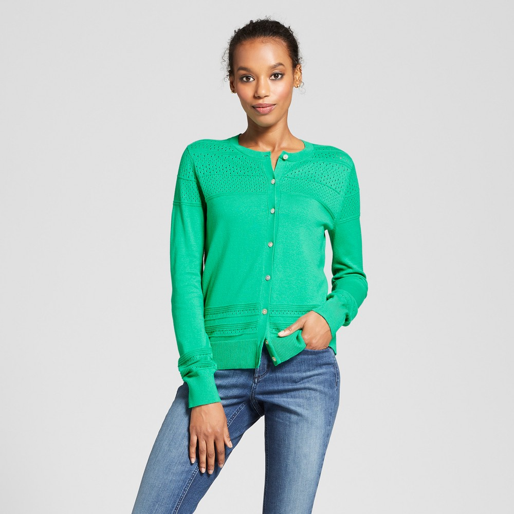 Women's Long Sleeve Any Day Cardigan - A New Day Green M