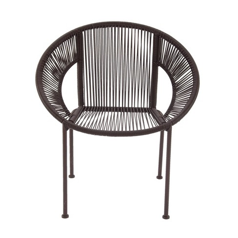Metal Plastic Patio Accent Chair Brown - Olivia & May - image 1 of 4