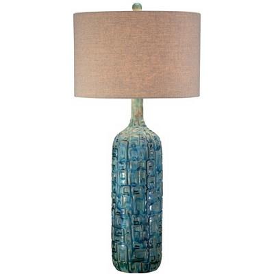 Possini Euro Design Mid Century Modern Table Lamp Ceramic Tiled Teal Tall Tan Linen Drum Shade for Living Room Family Bedroom