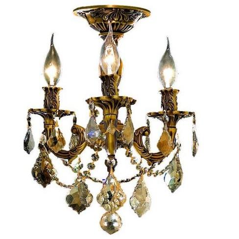 promo code adb07 61fba Elegant Lighting 9203F13FG-GT Rosalia 3-Light, -Tier Semi-Flush Crystal  Chandelier, Finished in French Gold