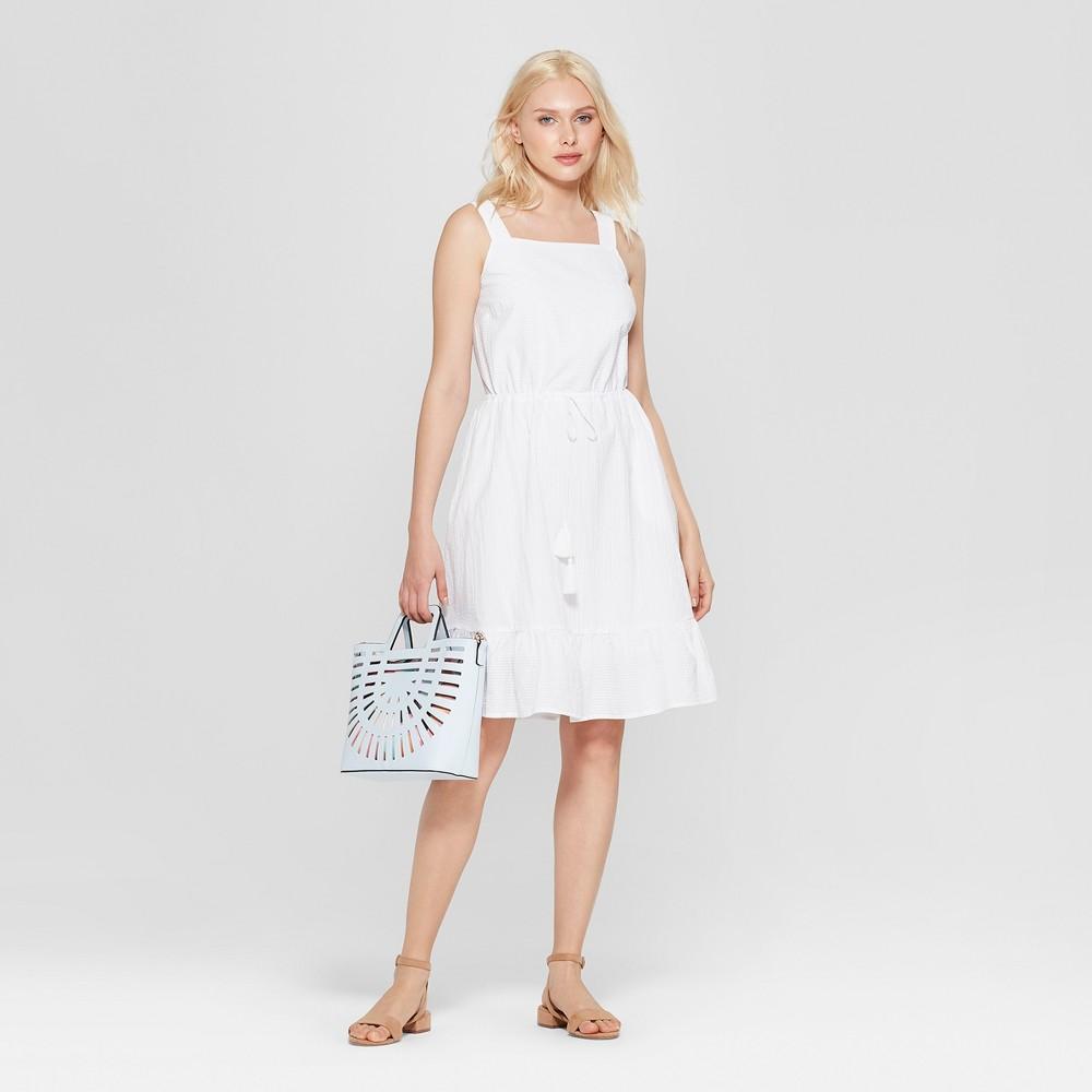 Women's Sleeveless Apron Ruffle Dress - A New Day White L
