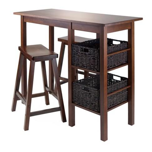 5pc Basket Pub Dining Table Set Wood Toasted Walnut Winsome Target