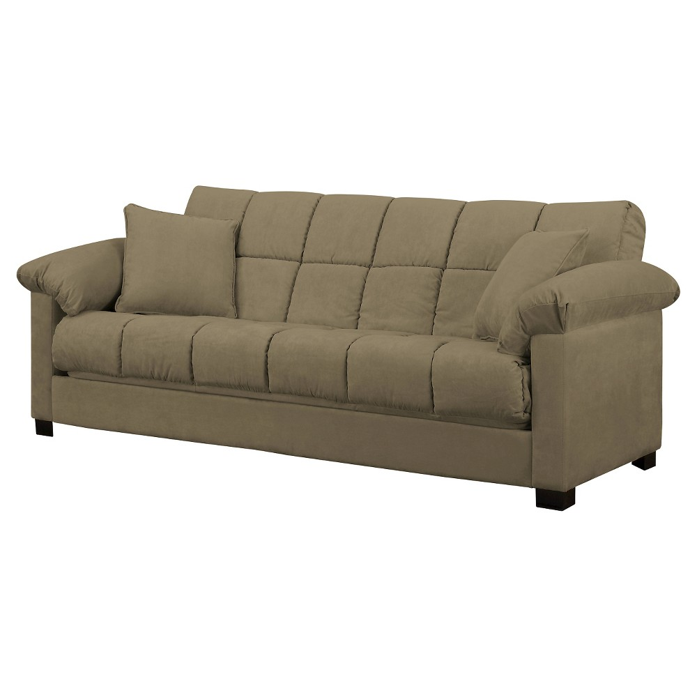 Image of Maurice Pillow Top Arm Convert-a-Couch ̈ - Mocha - Handy Living, Brown