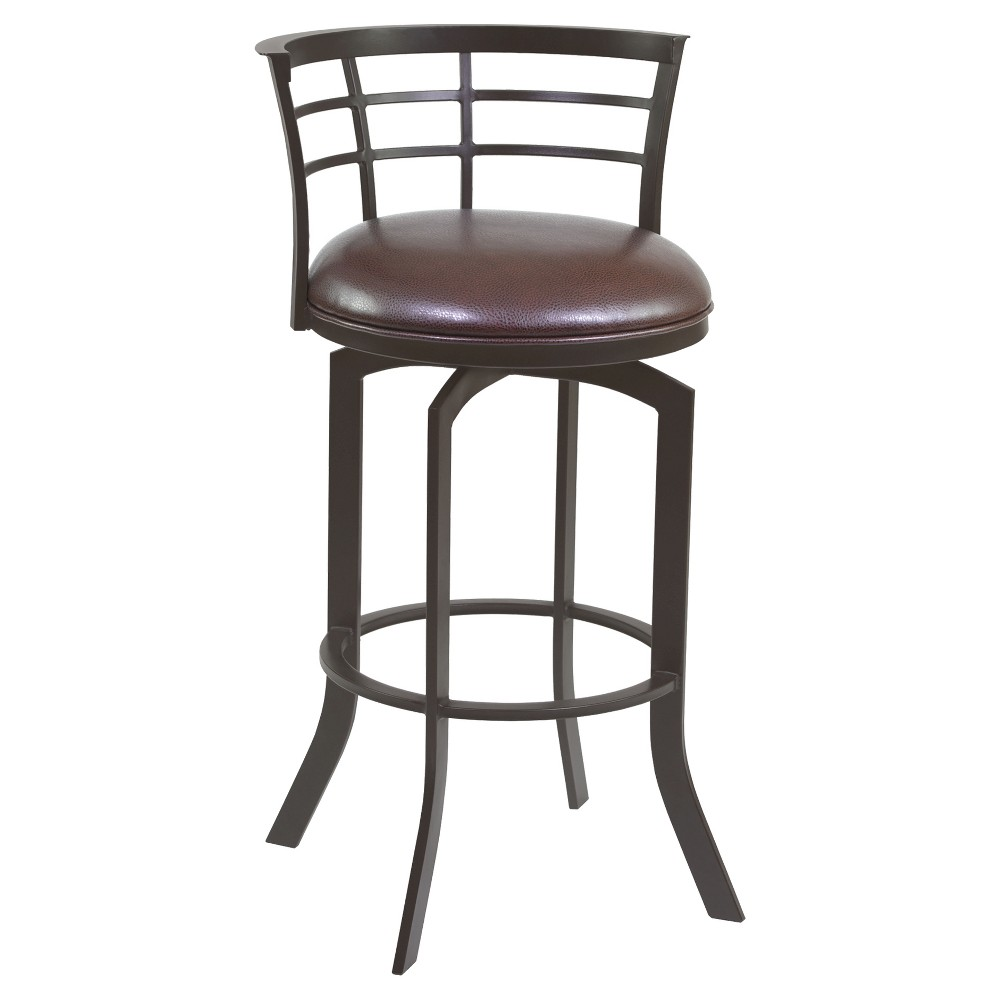 Surprising 30 Viper Faux Leather Barstool Brown Armen Living Squirreltailoven Fun Painted Chair Ideas Images Squirreltailovenorg