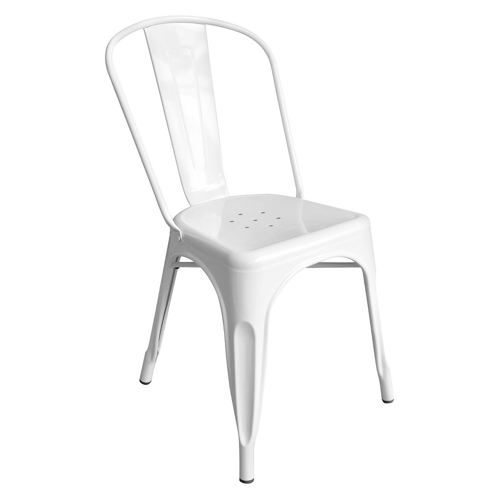 Aeon Garvin Galvanized Steel Chair - White (Set of 2)