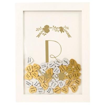 Monogram Gold Floral Guestbook Dropbox