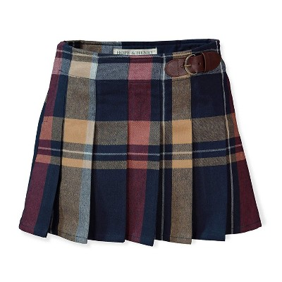Hope & Henry Girls' Pleated Plaid Skirt with Buckle Detail, Kids
