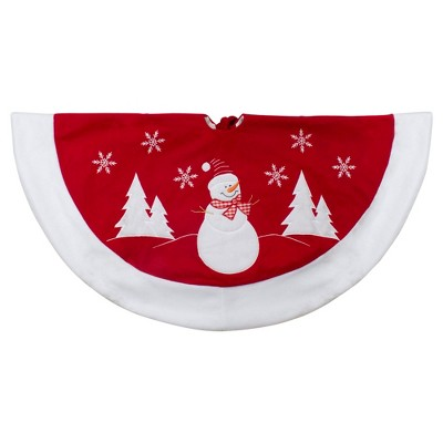 """Northlight 36"""" Red and White Winter Snowman Embroidered Christmas Tree Skirt"""