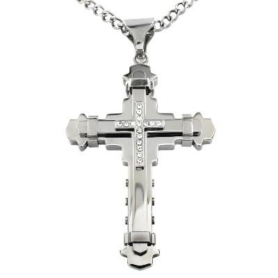Crucible Men's Cubic Zirconia Stainless Steel Multi-layer Cross Pendant Necklace