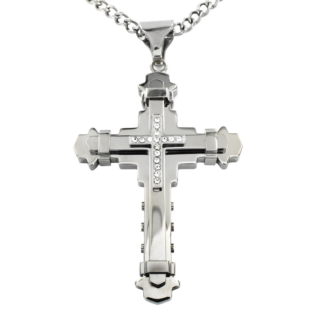 Image of Crucible Men's Cubic Zirconia Stainless Steel Multi-layer Cross Necklace, Size: Small, Silver/Silver