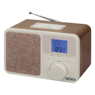 JENSEN AM/FM Digital Dual Alarm Clock Radio with LCD Display, 1A Charging Port for all Smartphones, Aux-in (JCR-315)