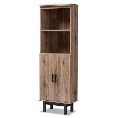 """73"""" 2 Door Arend Two-Tone Wood Bookshelf Brown - Baxton Studio"""