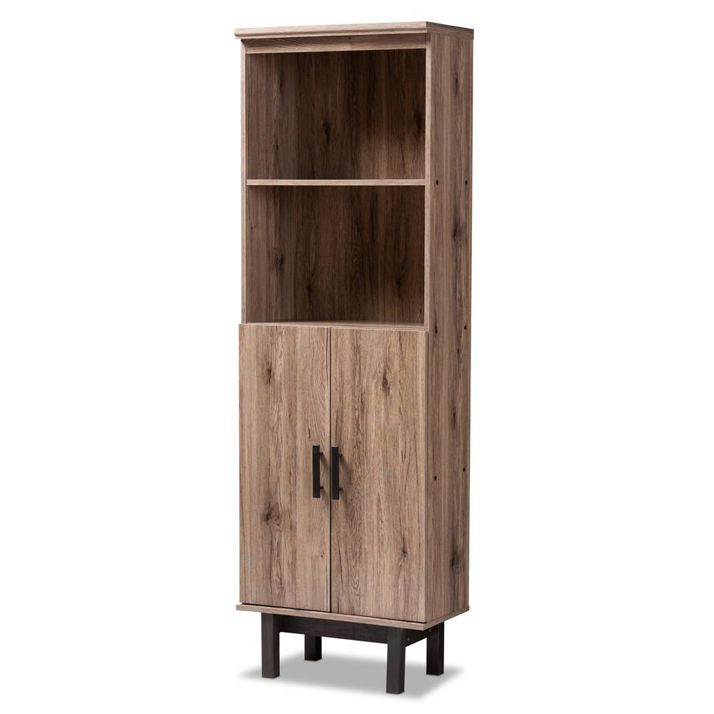 Image of 2 Door Arend Two Tone Wood Bookcase Brown - Baxton Studio, Brown Black