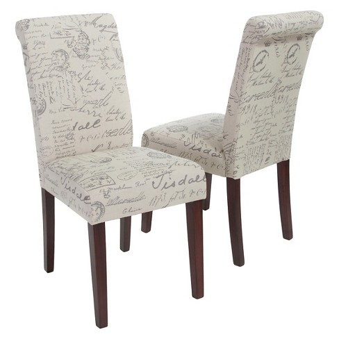French Handwriting Linen Dining Chair Beige (Set of 2) - Christopher Knight Home - image 1 of 4