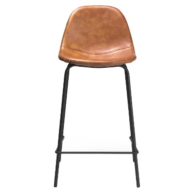 Set of 2 Maxine Modern Upholstered Faux Leather Counter Height Barstool - Aeon