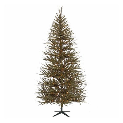 Vickerman Vienna Twig 8 Foot Decorative Artificial Unlit Christmas Tree with Pine Needles, Twigs, and Metal Stand for Holiday Season