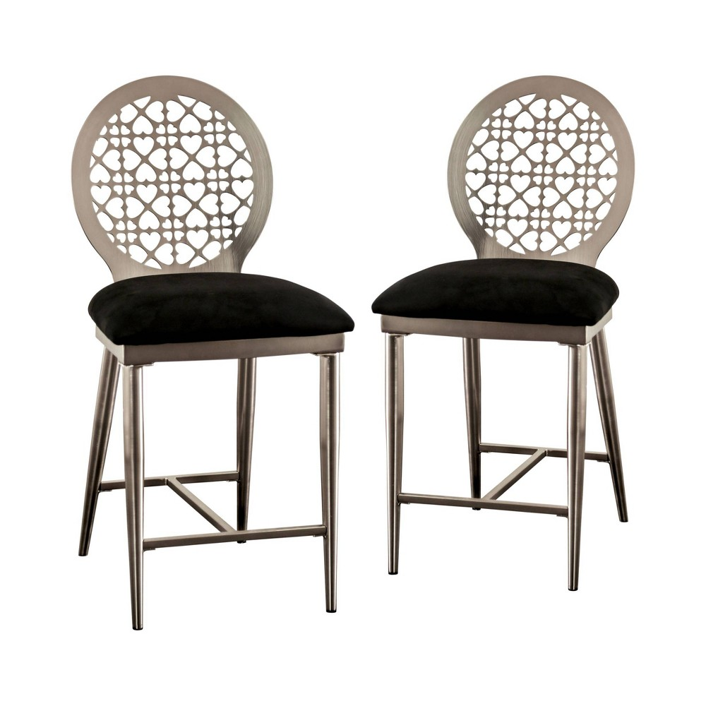 "Image of ""24"""" Set of 2 Chalee Padded Seat Counter Height Chairs Silver/Black - miBasics"""