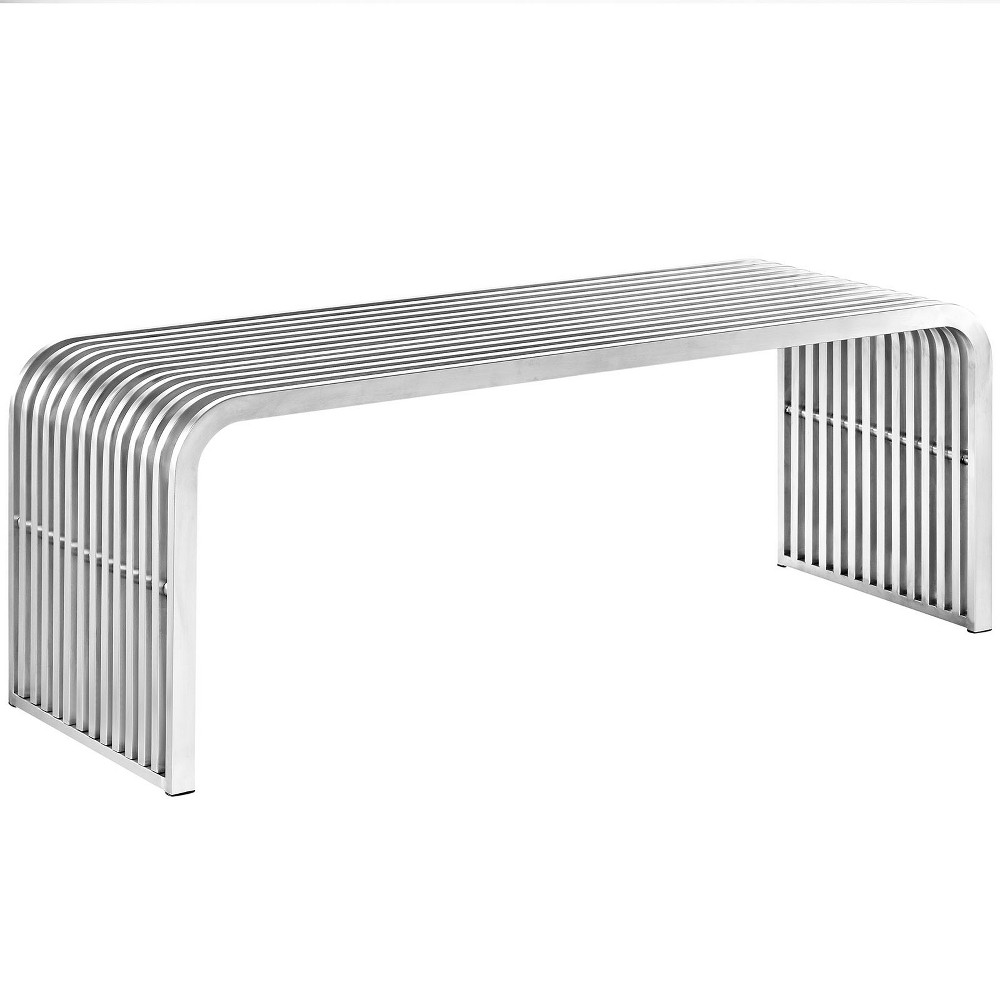 "Image of ""Pipe 47"""" Stainless Steel Bench Silver - Modway"""