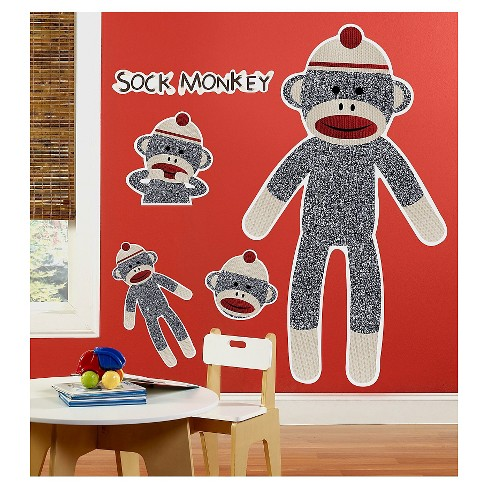 Sock Monkey Red  Wall Decal - image 1 of 1