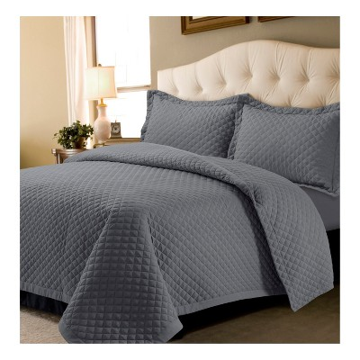 Graphite Brisbane Solid Oversized Diamond Quilt Set (Full/Queen)- Tribeca Living