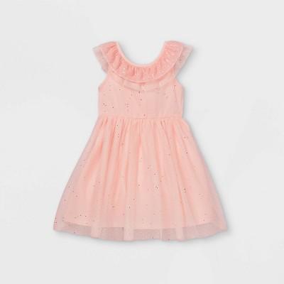 Girls' Short Ruffle Sleeve Sequin Tulle Dress - Cat & Jack™ Powder Pink