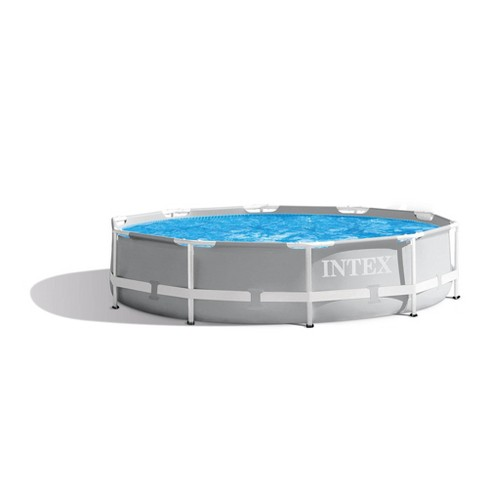 Intex Prism Frame 10ft x 30in Round Above Ground Outdoor Backyard Swimming  Pool
