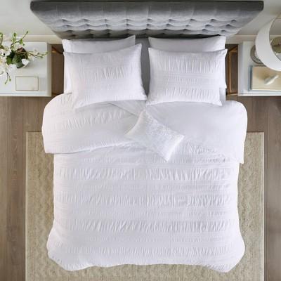 4pc King/California King Amari Cotton Seersucker Duvet Cover Set - White