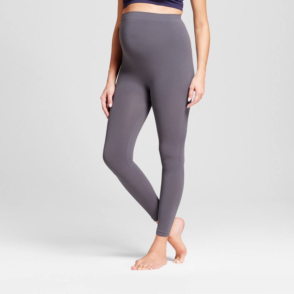 Maternity Seamless Footless Tight Belly Leggings - Isabel Maternity by Ingrid & Isabel Gray M/L, Women's