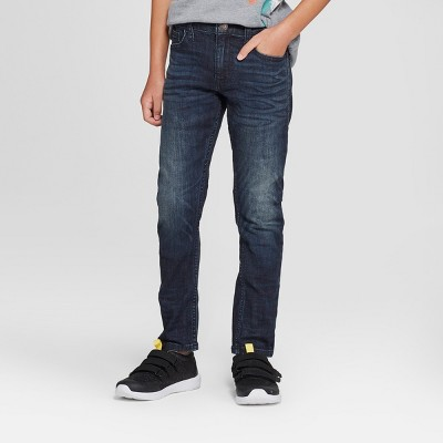 Boys' Stretch Taper Fit Jeans - Cat & Jack™ Dark Blue