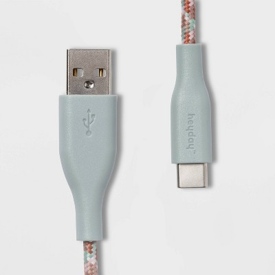heyday™ 4' USB-A to USB-C Braided Cable - Misty Blue